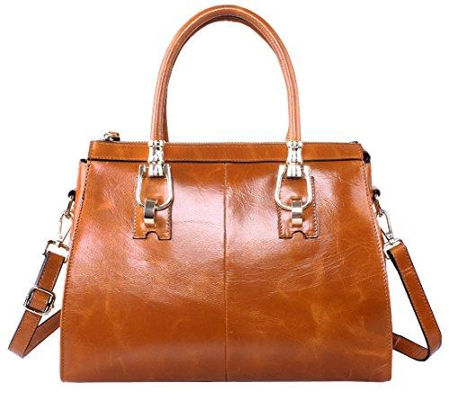 Heshe® New Stylish Ol Luxury Waxy Genuine Leather Casual Tote Top Handle Shoulder Cross Body Bag Zippered Messenger Bag Satchel Purse Handbag for Women