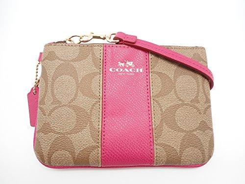 Coach Signature PVC Leather Small Wristlet 52860 Khaki/Pink Ruby