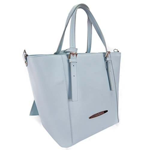 Pierre Cardin 1335 AZUR Made in Italy Powder Blue Leather Structured Tote/Shoulder Bag