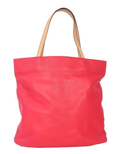 Isaac Mizrahi Kay N/S Leather Bucket Tote, Watermelon