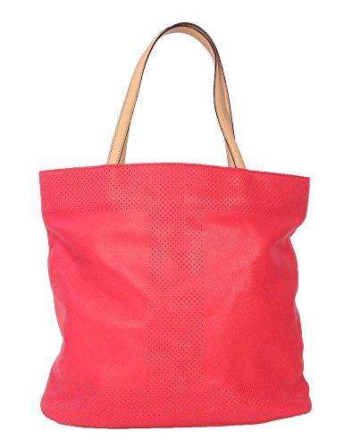 Isaac Mizrahi Kay N/S Leather Bucket Tote, Watermelon