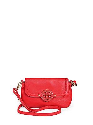 Tory Burch Amanda Leather Mini Crossbody Bag Red