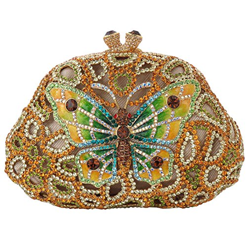 Butterfly Clutch with Yellow and Green Crystallized Swarovski Elements