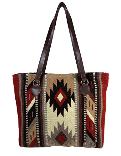Large Tote Bag, Beautiful Southwest and Native American Designs on Hand-woven Wool