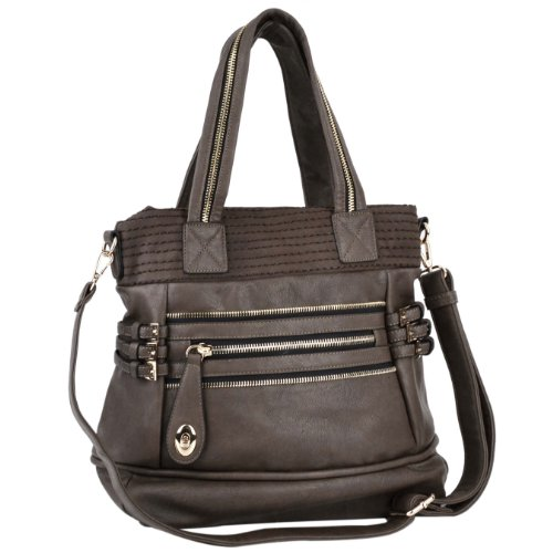 MG Collection Classic Brown Buckled Strips Satchel Handbag
