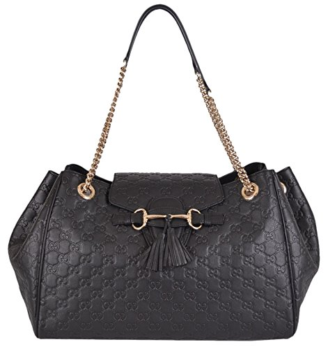 Gucci New Leather Emily Handbag Shoulder Bag Black