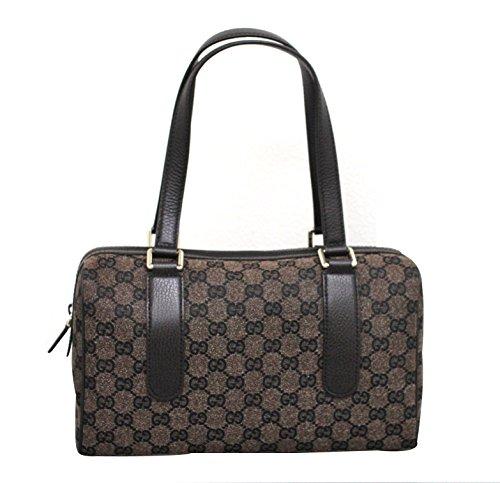 Gucci Brown Canvas Satchel Handbag Charmy Boston Bag 257289