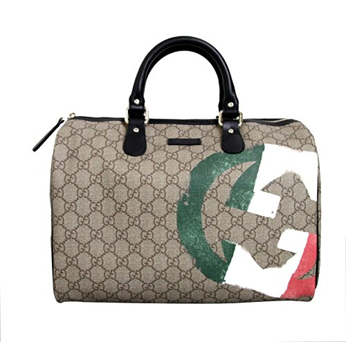 Gucci Coated Canvas Joy Boston Satchel Italian Flag Bag 195451