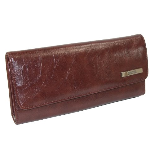 Kenneth Cole Reaction Trifold Elongated Glazed Cheetah Interior Clutch Brown