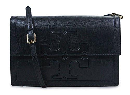 Tory Burch Black Leather Jessica Square Messenger Bag Crossbody Purse