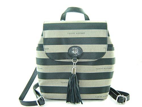 Tommy Hilfiger Mini Backpack Handbag Black Grey Stripe