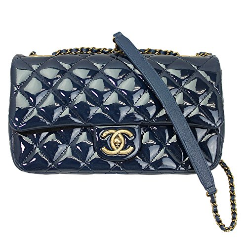 Chanel Womens Blue Patent Leather Flap Chain Shoulder Bag A92891