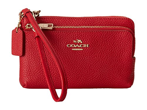 Coach 52900 Pebble Leather Double Zip Wristlet Red