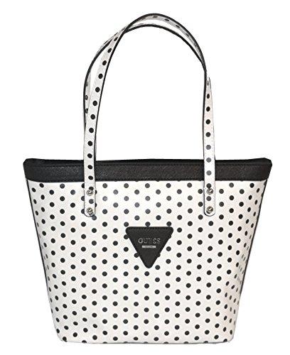 GUESS Zoom Tote Bag Handbag Purse Polka Dot White