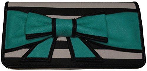 Betsey Johnson Women's Flap Wallet, Black/White Stripe, Blue Bow