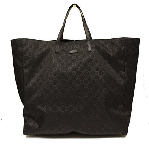Gucci Black Nylon and Leather Travel Beach Bag Open Tote 286193
