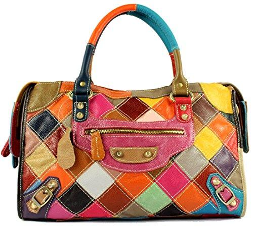 Heshe® Women's New Fashion Soft Genuine Leather Multi-color Stitching Splicing Tote Bag Hobo Cross-body Bag Shoulder Bag Handbag Hobo Bag Personality Simple for Ladies