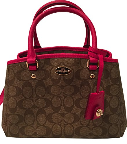 Coach Signature Small Margo Carryall & Cross-body in Khaki & Pink Ruby