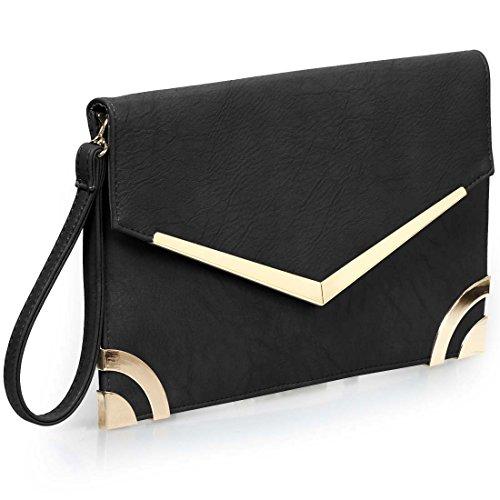 BMC Womens Ultra Thin Faux Leather Envelope Flap Wristlet Clutch Fashion Handbag