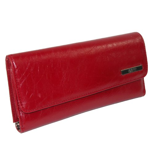 Kenneth Cole Reaction Trifold Elongated Glazed Cheetah Interior Clutch Red