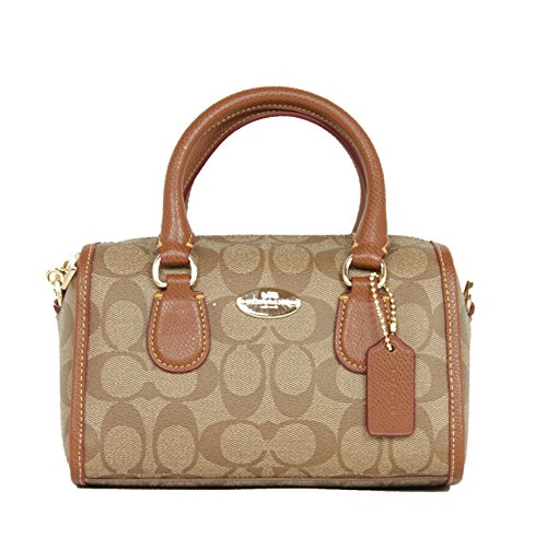 Coach Signature Coated Canvas Baby Bennet Satchel with Removable Crossbody Belt Khaki Saddle