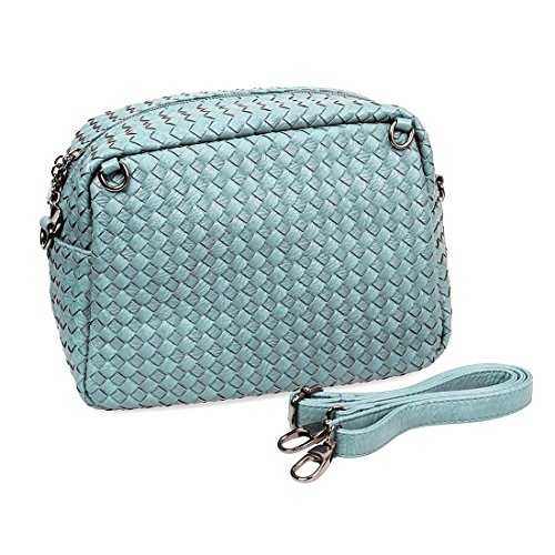 BMC Cute Woven Pattern Multifunctional Detachable Handles Crossbody Square Tote
