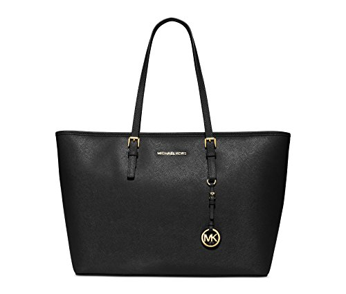 MICHAEL Michael Kors Jet Set Travel Multifunction Saffiano Leather Tote, Black