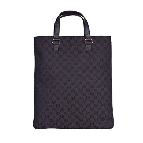 Gucci Women's Brown Canvas Leather Trimmed Guccissima Print Tote Handbag Bag