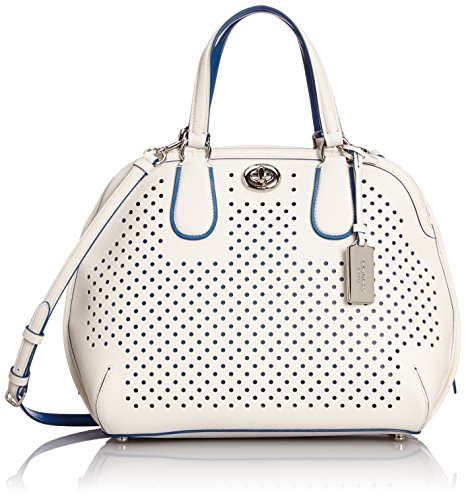 Coach Perferated Prince Street Satchel #34705 Chalk/Denim