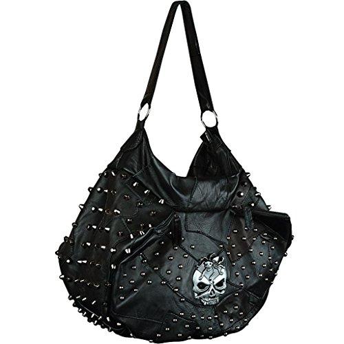 Yahoho Women's Skull Rivet Stud Soft Lambskin Genuine Leather Shoulder Bag Cross Body Large Hobo