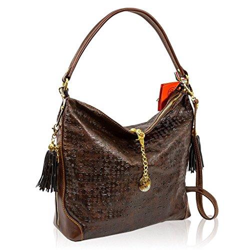 Marino Orlandi Italian Designer Brown Textured Leather Purse Crossbody Bag