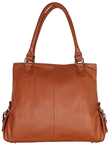 Carla Women Designer Genuine Leather Tan Brown Shoulder Bag