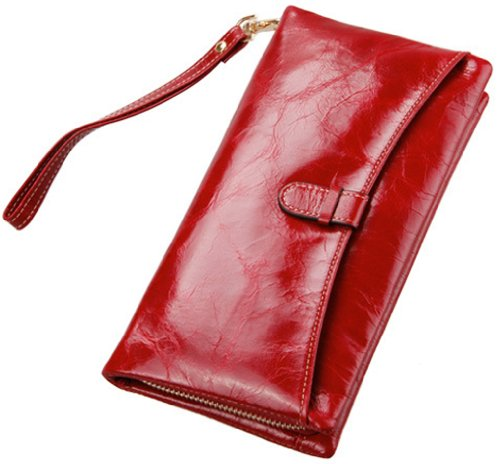 Heshe Luxury Women's Wax Paper Genuine Leather Long Clutch Wallet Purse Handbag Card Holder Case with Coin Zipper Pocket