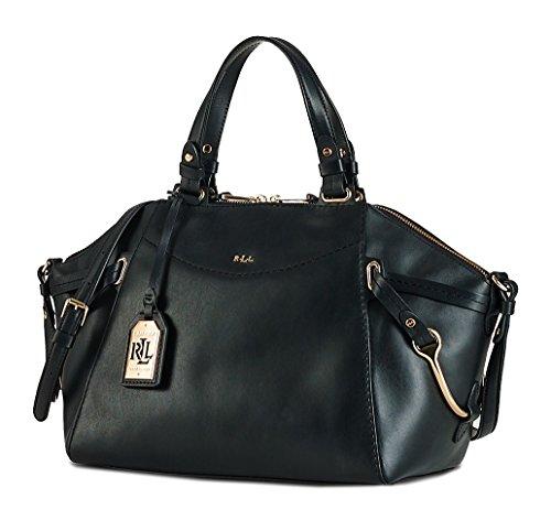 Ralph Lauren Women's Lauren Black WOODBRIDGE Zip Tote Purse Satchel Top Handle Handbag