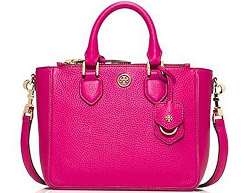 New With Tag Tory Burch Robinson Pebbled Mini Square Tote Carnation Red Fuschia Pink handBag Bag RP450