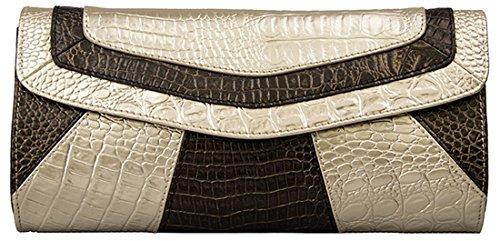Heshe® Women Genuine Leather Envelope Cross Body Shoulder Long Clutch Purse Evening Bags Wallet Handbag