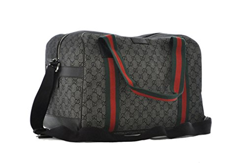 Gucci 374769 Diamante Black Green Red Web Duffle Bag Carry-on Travel Overnight Bag