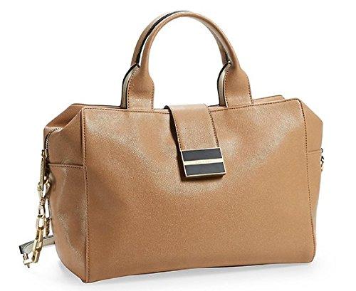 Calvin Klein Madeline Snake Metro Satchel Bag Handbag (Sepia Caviar)