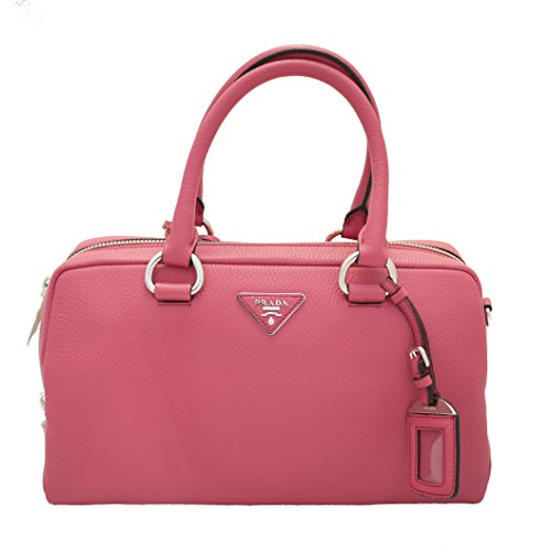 Prada Women's Vitello Daino Zip Boston Satchel, One Size, Peonia Pink