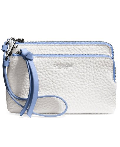 Coach Bleecker Double L-Zip Wristlet In Edgepaint Leather (Silver/White/Blue Oxford)
