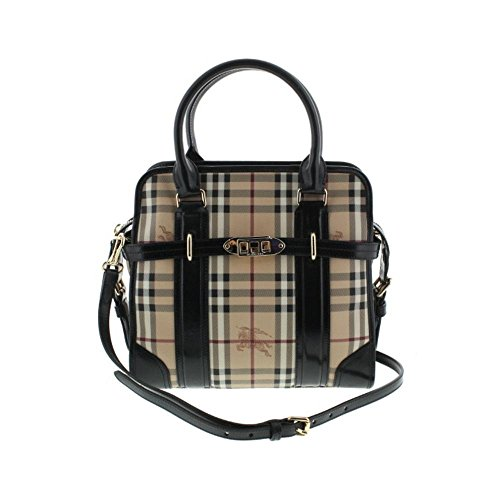 Burberry Womens Minford Leather Trim Haymarket Check Satchel Handbag
