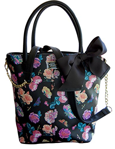 Betsey Johnson Black Floral Face Tote