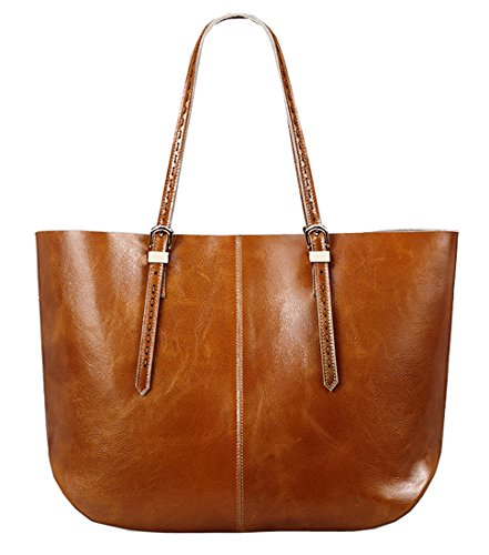 Qw 2015 New Women's Genuine Waxy Leather Lash Package Shoulder Bag Satchel Top-handle Tote Handbag Hot Sell