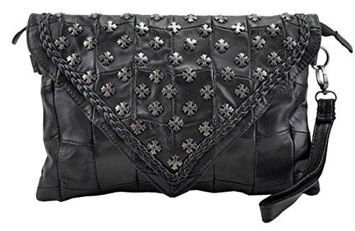 Heshe New Soft Girls Luxury Genuine Leather Stylish Sheepskin Lady's Fashion Clutch Organizer Cross Punk Evil Retro Wrislet Shoulder Crossbody Bag Messenger Bag Purse Women's Handbag