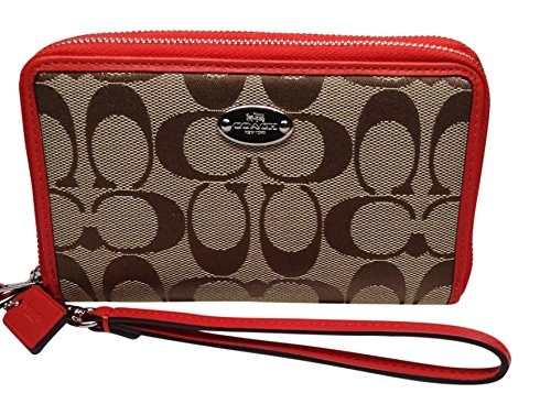 Coach 53616 12cm Signature Double Zip Phone Wallet Wristlet Clutch Cardinal