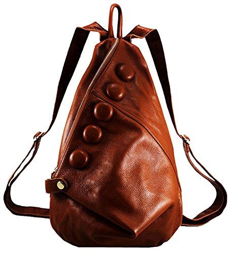 Heshe® New Women Fashion Genuine Leather Retro Shoulder Bag Backpack Schoolbag Messenger Pruse College Bag, Picnic Travel Bag for Ladies