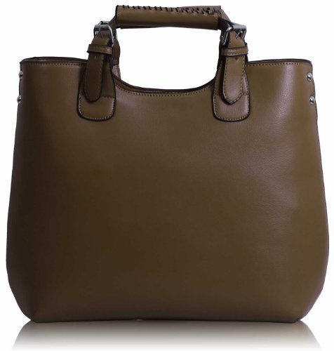 Womens Tan Brown Large Tote Shoulder Bag Ladies Faux Leather Designer Handbag KCMODE