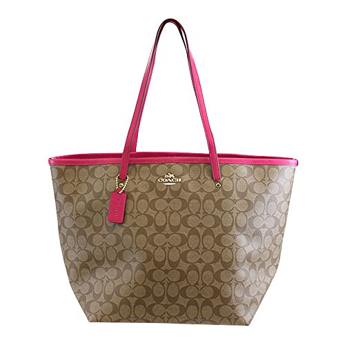Coach Signature C Large Taxi Tote Khaki & Pink Ruby