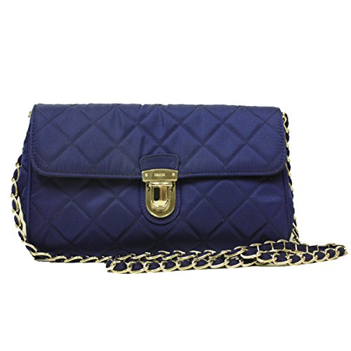 Prada BP0584 Royal Blue Tessuto Impuntu Nylon and Leather Pattina Chain Crossbody Bag