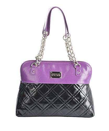 Kenneth Cole Reaction Black and Berry Quilted Satchel